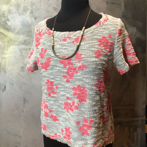 Anthropologie Tops - Anthropologie Gray & pink floral print sweatshirt